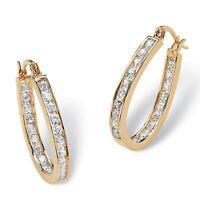 2.52 TCW Cubic Zirconia Gold Tone Inside-Out Hoop Earrings
