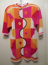 Vintage Retro 80s Annette Preve Geometric Abstract Blouse Bright Colors Costume