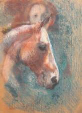 VINTAGE MODERNIST PORTRAIT WOMAN AND HORSE PASTEL PAINTING