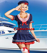 Hello Sailor Navy Sailor Girl Uniform Rockablility Pin Up Costume +Hat Size 8-18