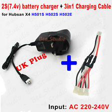 UK plug 2S Battery Charger+3 in 1 charging Cable for Hubsan X4 H501S H502S H502E