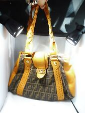 "A DELICIOUS FENDI  ""HERMES ORANGE""  LEATHER AND SIGNATURE VELVET BOHO BAG"