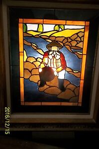 'Panning the Yellow Glory' Leaded Glass Panel (Comstock Mining History)