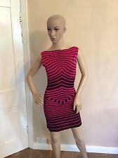 ALEXANDER MCQUEEN black & Pink Stripe Body Con Dress Size XS Uk 6-8 Women's Vgc