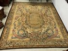 """Large Vintage Tapestry/ Rug Louis XV Style Coat of Arms Lions  Angels 151""""x130"""""""
