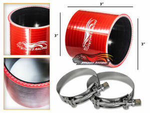 "RED 3"" Inch Silicone 3ply Coupler Hose Turbo Intake Intercooler For Cadillac"