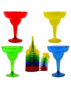 KINREX 20 Pack Plastic Margarita Glasses Cups 11.5 oz. Cinco De Mayo Decoration