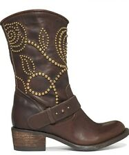 Guess Esperanz Floral Studded Western Brown Leather Mid Calf Boots Size 6