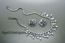 Vintage Hattie Carnegie blue aurora borelis rhinestones necklace set