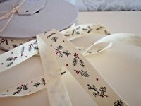 East of india Ribbon all lengths christmas berries ivory 3156 gift wrap present