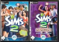Die Sims 2 Hauptspiel Basisspiel + ADDON Nightlife Sammlung PC Spiele