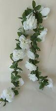 Rosengirlande weiß ca.250 cm  Blüte ca. 12 cm Kunstblumen -Seidenblumen