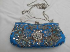 BNWT turquoise evening bag with faux pearls and beads plus 2 x chain handles