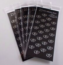One Sheet of Foil Self-Adhesive Double Heart Stickers Seals LARGE