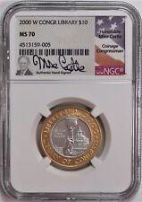 2000 W $10 Bimetallic Library of Congress NGC MS70 Mike Castle Signature