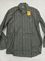 BEYOND RETRO Lacoste Vintage Men's Long Sleeve Shirt Grey Stripe - SIZE 42