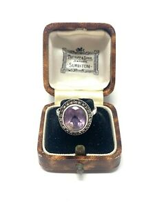 Heavy Large Vintage Sterling Silver 925 Amethyst Marcasite Cocktail Ring 5g #32