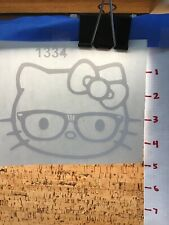Hello Kitty With Glasses BIG  -  White - Vinyl Sticker Decal - Y7-1.190