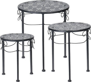 Garden Side table - 3 Pc Black Metal Round Nesting Table Home Patio Plant Stand