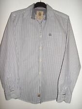 """NEXT GREY STRIPED SEMI FITTED COTTON SHIRT SIZE M (38"""")"""
