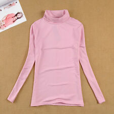 Women Long Sleeve Turtleneck Casual Slim Tops Knit Sweater Solid T-shirts Blouse