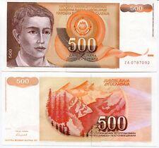 Yugoslavia 500 Dinara 1991 P 109 Unc Za Replacement Unc