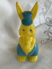 Vintage 1950's Rosen Easter Bunny Plastic Yellow with Blue Paint #70