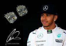 Men's/Boy's: Lewis Hamilton White Gold Plate Square Crown Crystal Gem Earrings