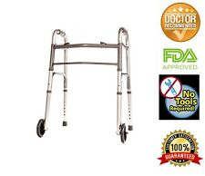 """Walker Folding Junior Deluxe 2 Button with Front 5"""" Wheels by Healthline"""