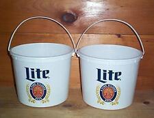 MILLER LITE THROWBACK LOGO  2  5QT. PLASTIC BEER ICE BUCKET COOLER NEW