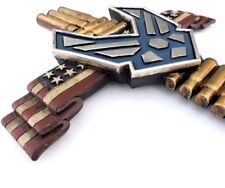 Air Force Cross US Flag & Shells Militaria Wall Hanging 17 1/2 x10 Patriotic New