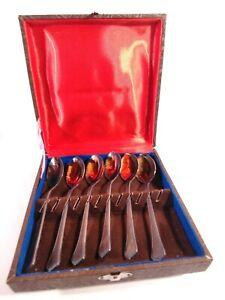 Vintage Russian SET 6 TEA Spoons box USSR L