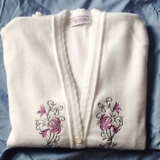 Dunedin, Made In Scotland, White Ladies Acrylic Cardigan, Embroidered DetaIl