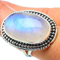 Large Rainbow Moonstone 925 Sterling Silver Ring Size 8.25 Jewelry R32986F