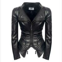 Womens Faux Leather Slim Fit Zipper V Neck Coats Jackets Stand Collar Haihk