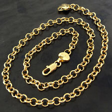 NECKLACE CHAIN REAL 18 CT YELLOW G/F GOLD SOLID ANTIQUE BELCHER LINK DESIGN 22""