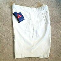 Le Coq Sportif Golf Tennis Shorts 38 NWT Mens White Athletic Pleated 100% Cotton