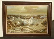 Original Picture of Crashing Waves Seascape Oil on Canvas PAINTING Signed Danny