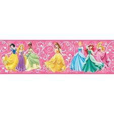 Disney Princess/Prinzessinnen auf Hot Pink sicher Streifen Tapete Grenze DS7600BD