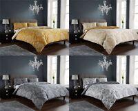 New Royal Damask Duvet Quilt Cover Set, Bed Linen Double King Size, Grey Gold