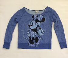 BNWT Disney Parks Minnie Mouse Ladies Long Sleeve Sweatshirt Top Sz Small Blue