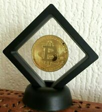 24k Gold Plated BTC coin In 3D Floating Display Stand. Novelty Bit coin