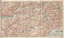 Carta geografica antica DOLOMITI da BELLUNO al LATEMAR TCI 1920 Old antique map