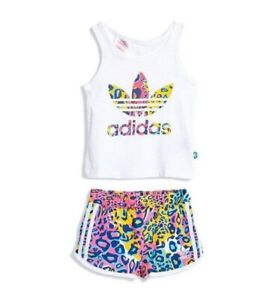 Adidas Originals Girl's Summer Set Shirt Trousers Suit Tank Top Short Logo