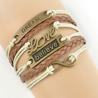 Vintage Infinity Love Anchor Leather Cute Charm Bracelet Bronze DIY Jewelry Gift