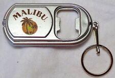 MALIBU Rum Bottle Opener Key Chain Flashlight w/ On/Off Switch, Silver w/ Multi