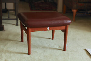France & Sons, Arne Vodder Teak and Leather Ottoman, DANISH Foot Rest, BEAUTIFUL