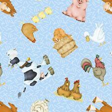 Cricket Island Farm Animals cotton Quilt fabric BTY TT Fabrics Baby Sheep