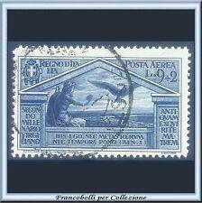 1930 Italia Regno Posta Aerea Virgilio L. 9 + 2 azzurro scuro n. A 24 Usato