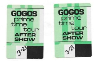 GOGOS PRIME TIME TOUR AFTER SHOW DOUBLE BACKSTAGE PASS LOT